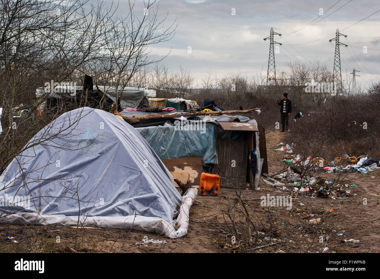 Illegal immigrants from Afghanistan Syria living in tents in the area known as  the jungle  in Calais  France & Illegal immigrants from Afghanistan Syria living in tents in the ...