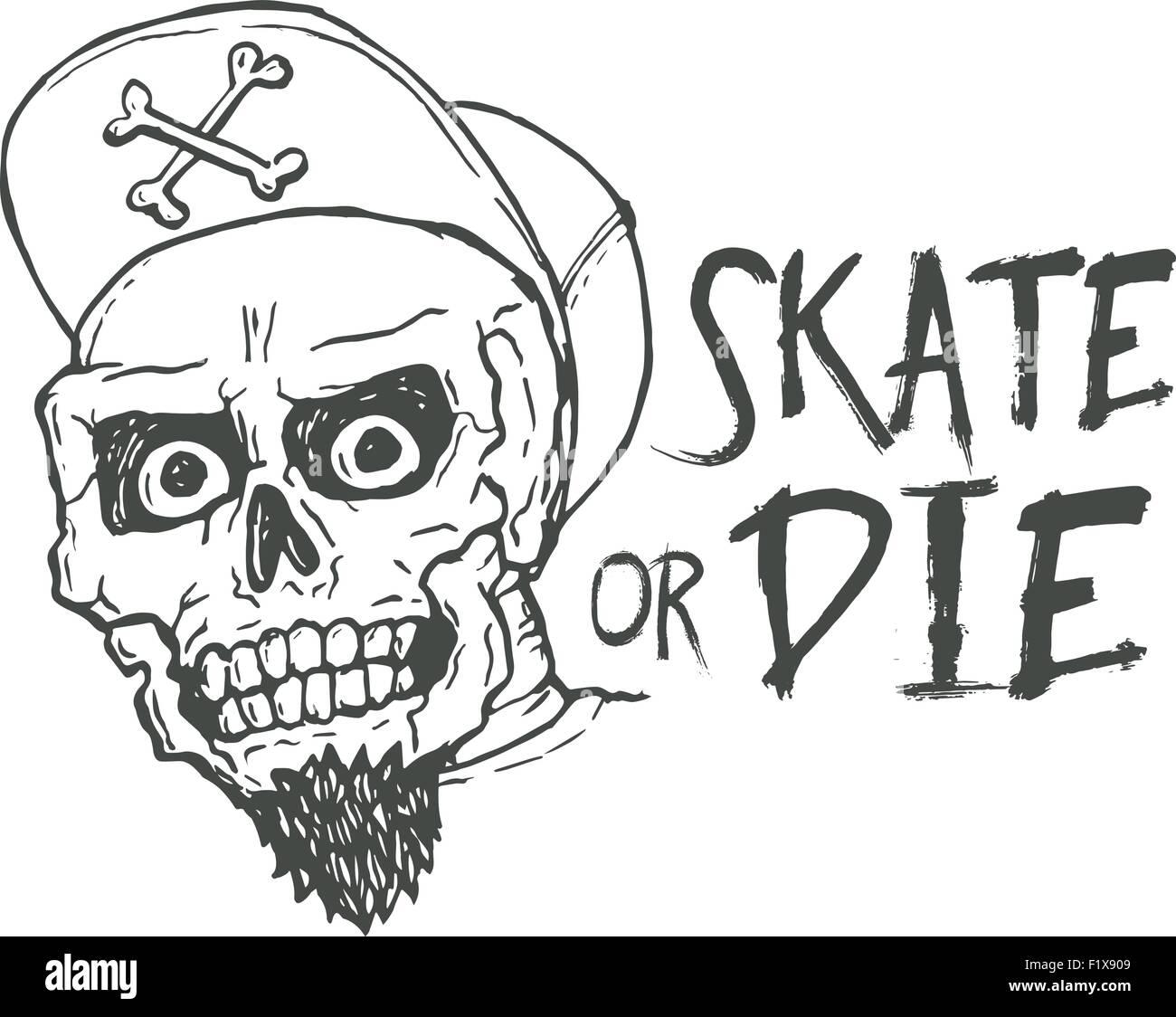 skate or die lettering tattoo design skater scull vintage t shirt print monochrome