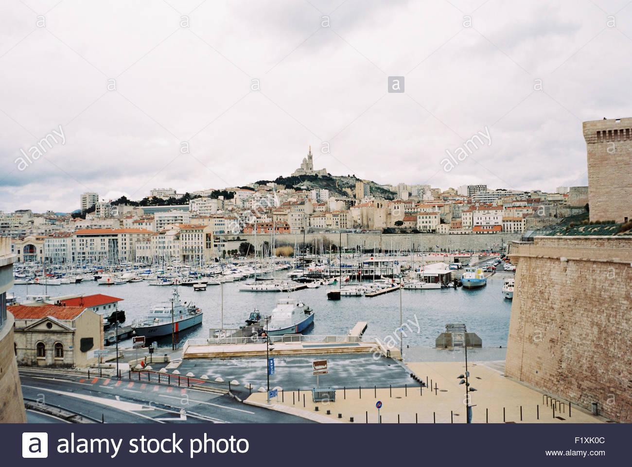 Marseille view the vieux port and over notre dame de la garde stock photo royalty free image - Pharmacie de garde marseille vieux port ...