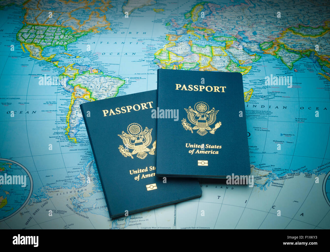 Travel passports on a world map ready for any exotic destination travel passports on a world map ready for any exotic destination gumiabroncs Image collections