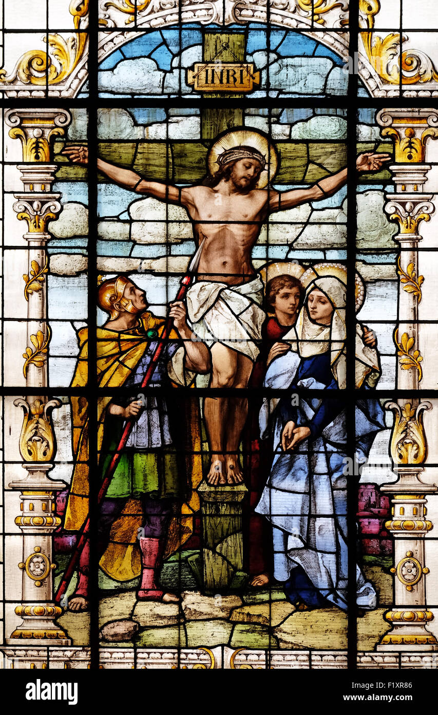 crucifixion jesus died on the cross stained glass window in the