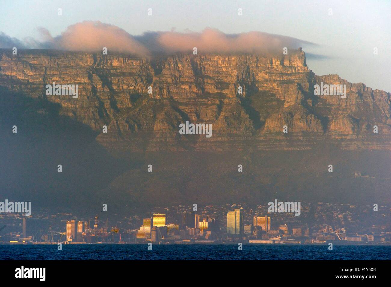 South Africa Western Cape Cape Town Table Mountain View From Stock Photo