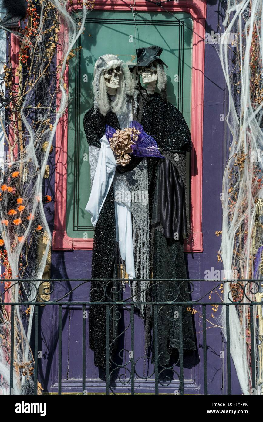 United States, Louisiana, New Orleans, Halloween decorations Stock ...