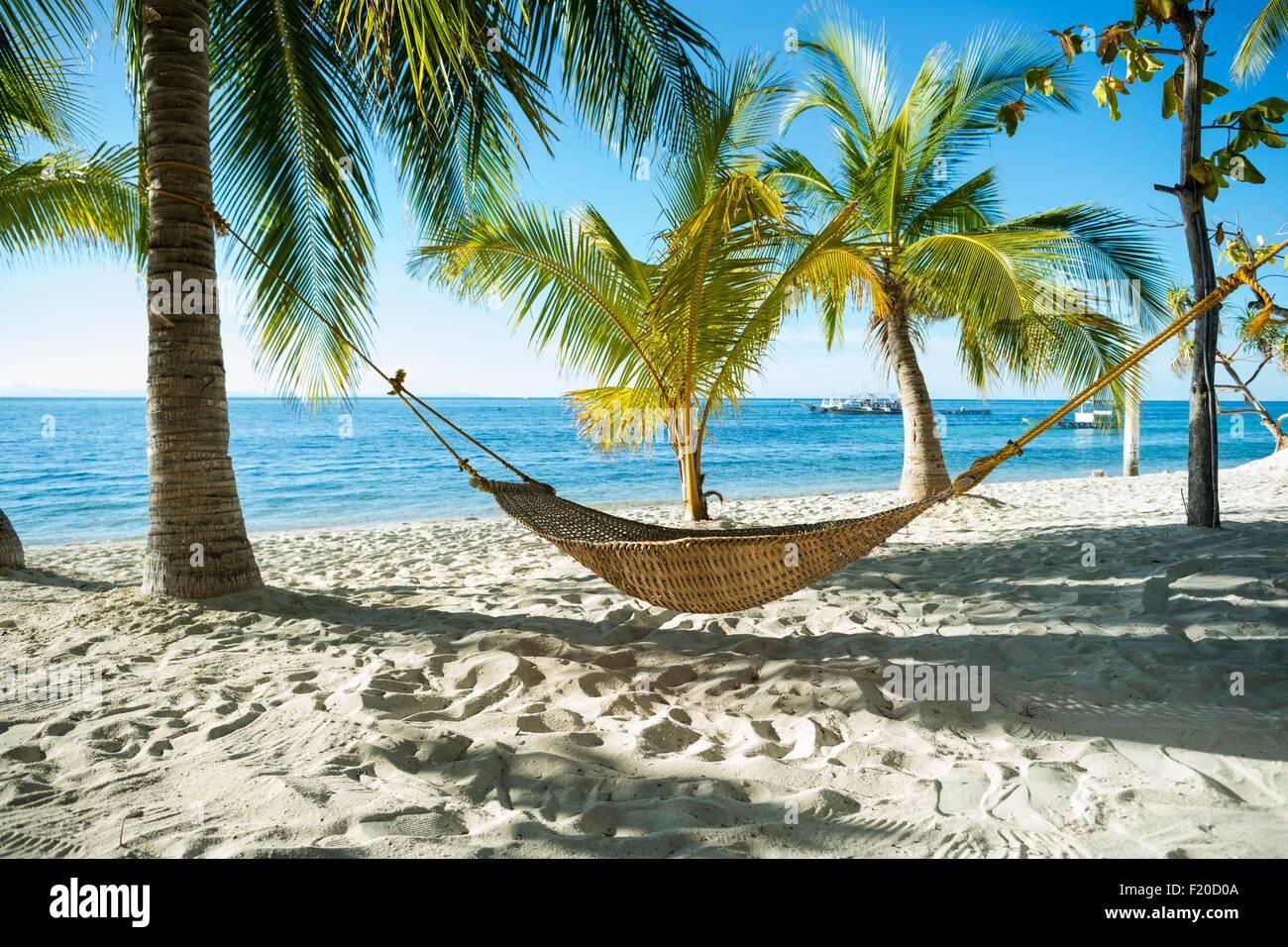 Hammock on tropical beach, Cebu, Philippines Stock Photo ...