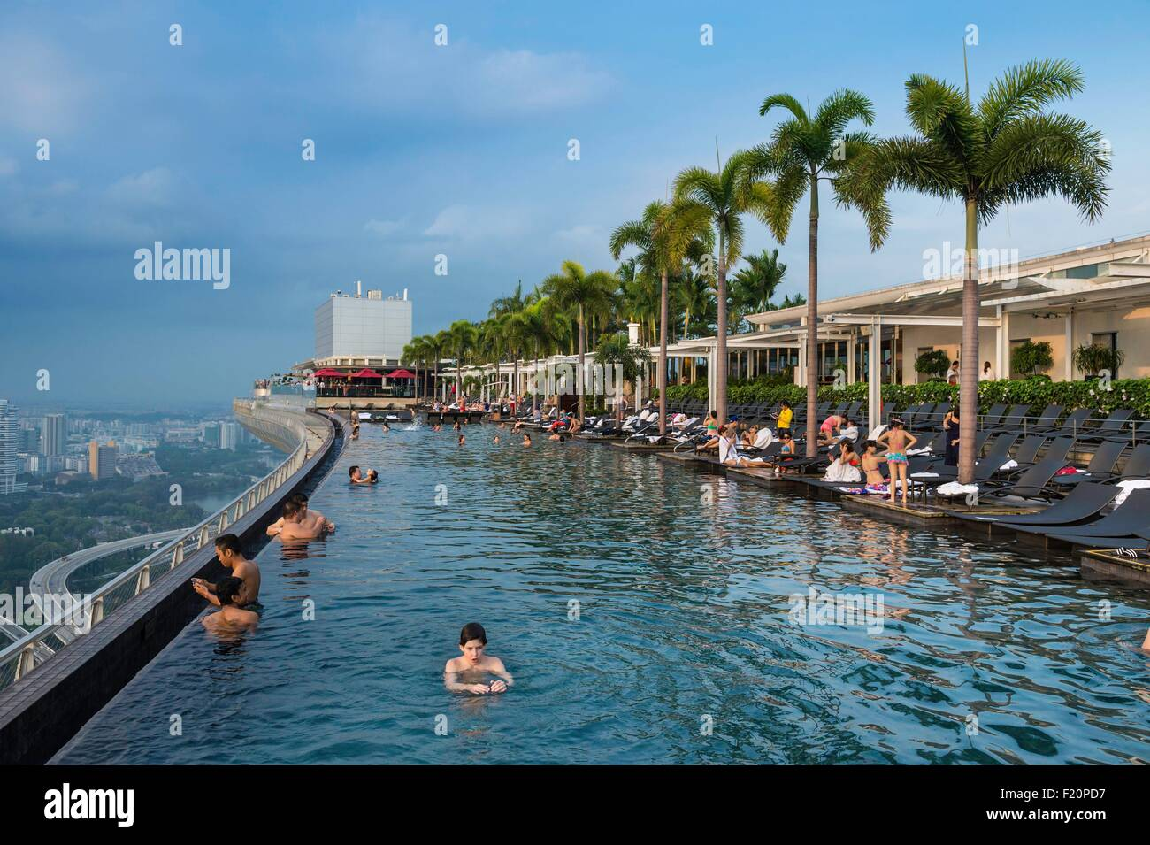 Singapore marina bay swimming pool on the rooftop of marina bay stock photo royalty free - Marina bay sands resort singapore swimming pool ...