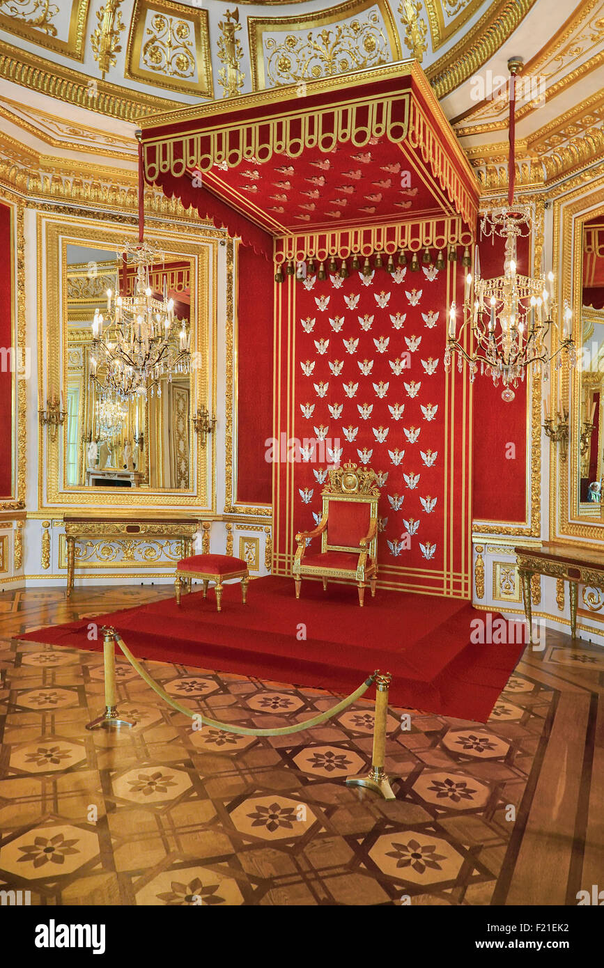 poland, city of warsaw, royal castle interior, the throne room