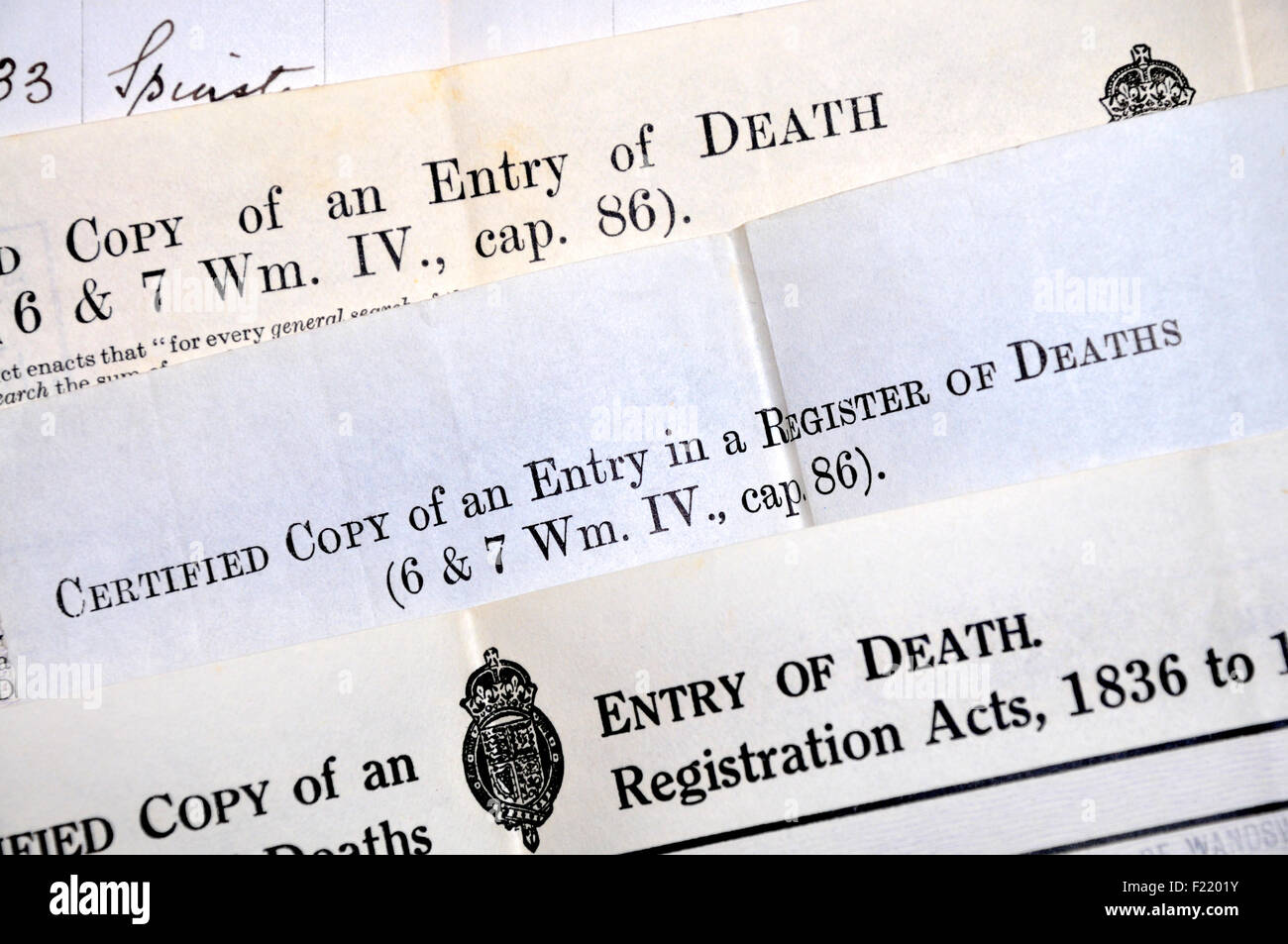 Death certificates british stock photo royalty free image death certificates british 1betcityfo Image collections