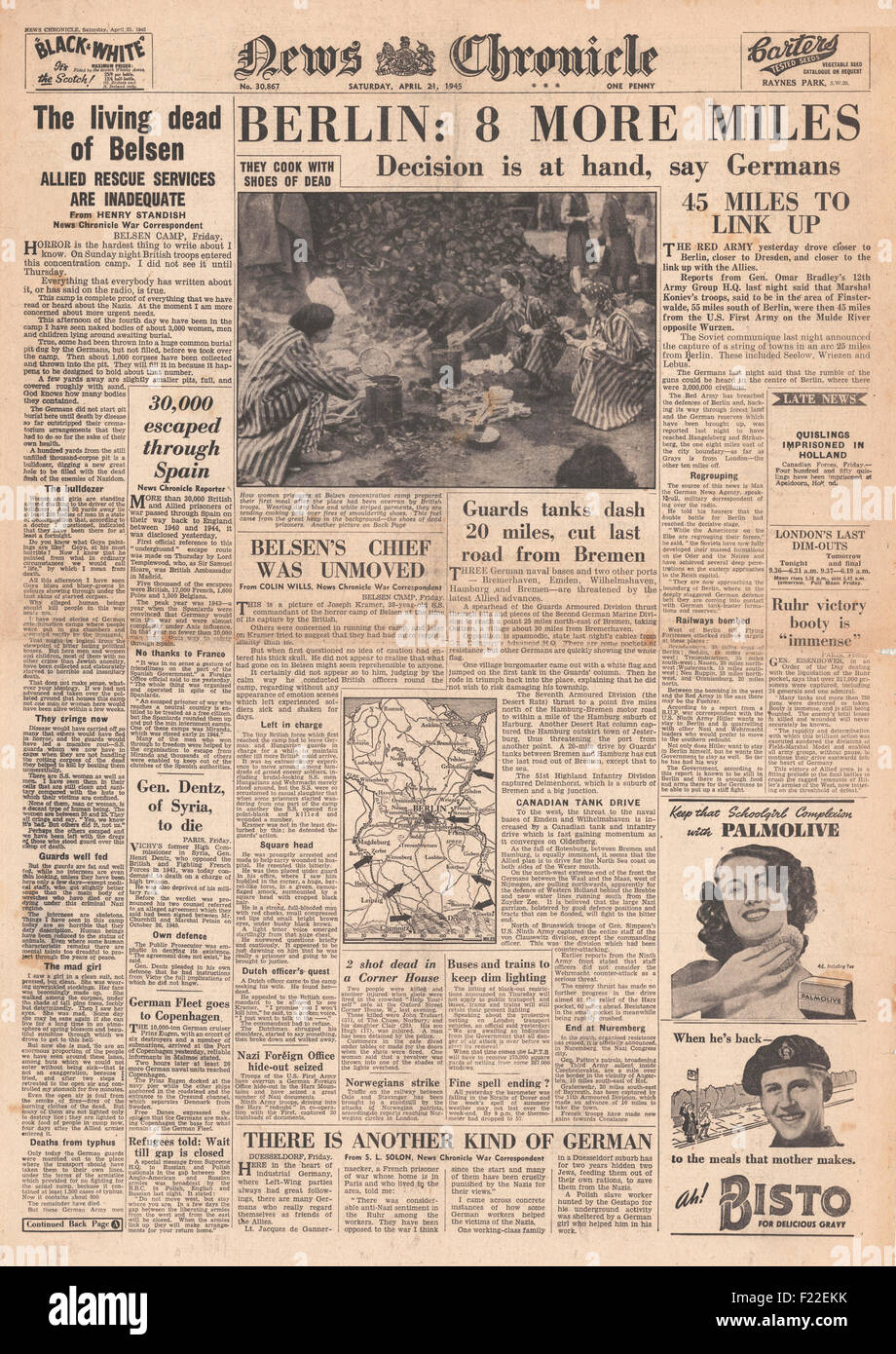 1945 news chronicle front page reporting liberation of - Front de liberation des nains de jardins ...