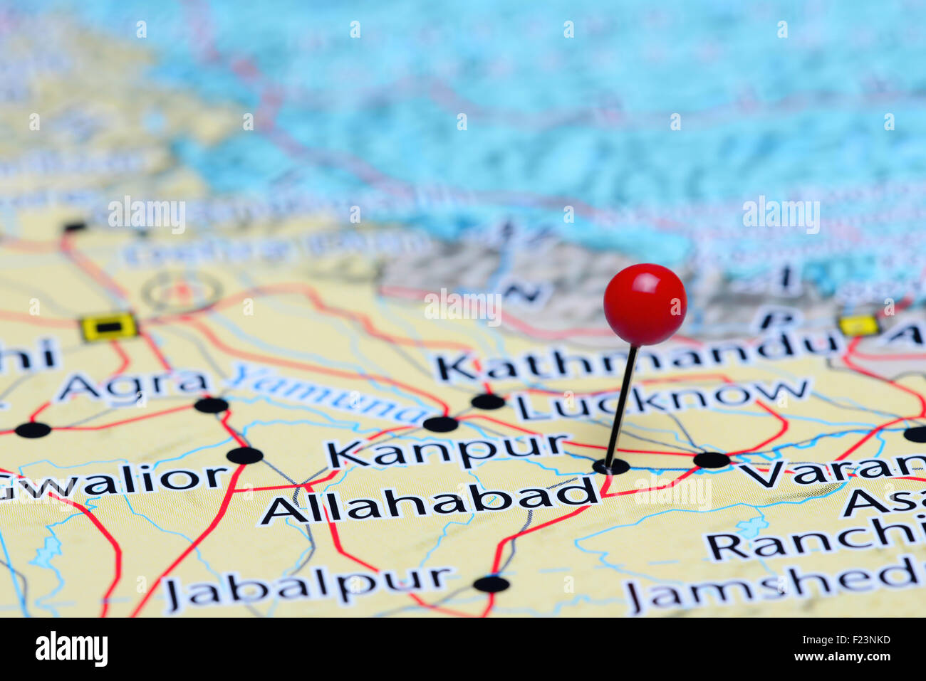 Allahabad Pinned On A Map Of Asia Stock Photo Royalty Free Image - Allahabad map