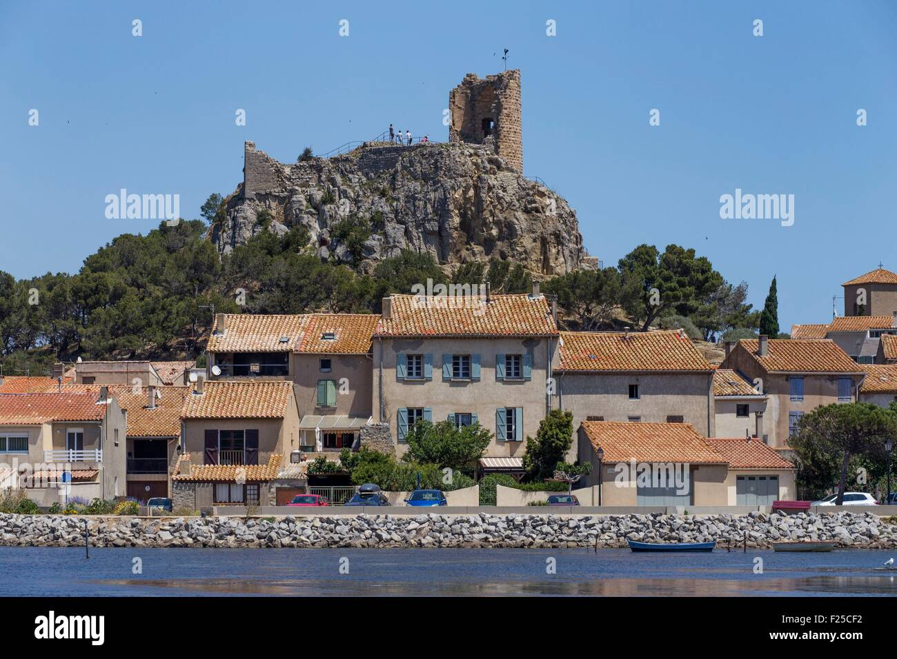 France, Aude, Corbieres, Gruissan, The Old Village, Medieval Military  Fortress For The Coast Watching Dominated By The 13th Century Barberousse  Tower