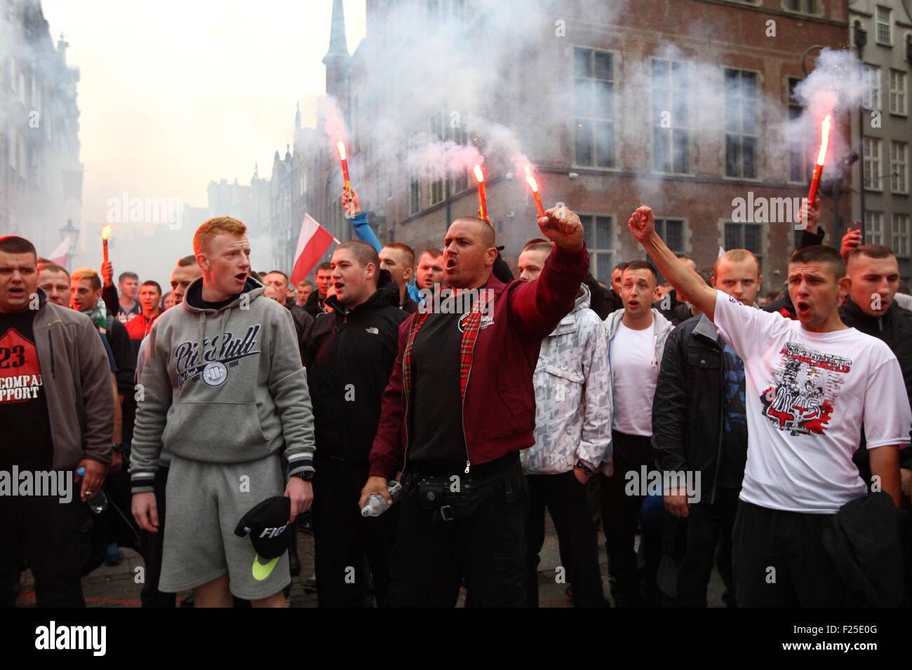 GDANSK, POLAND - SEPTEMBER 12: Members of far-right ...