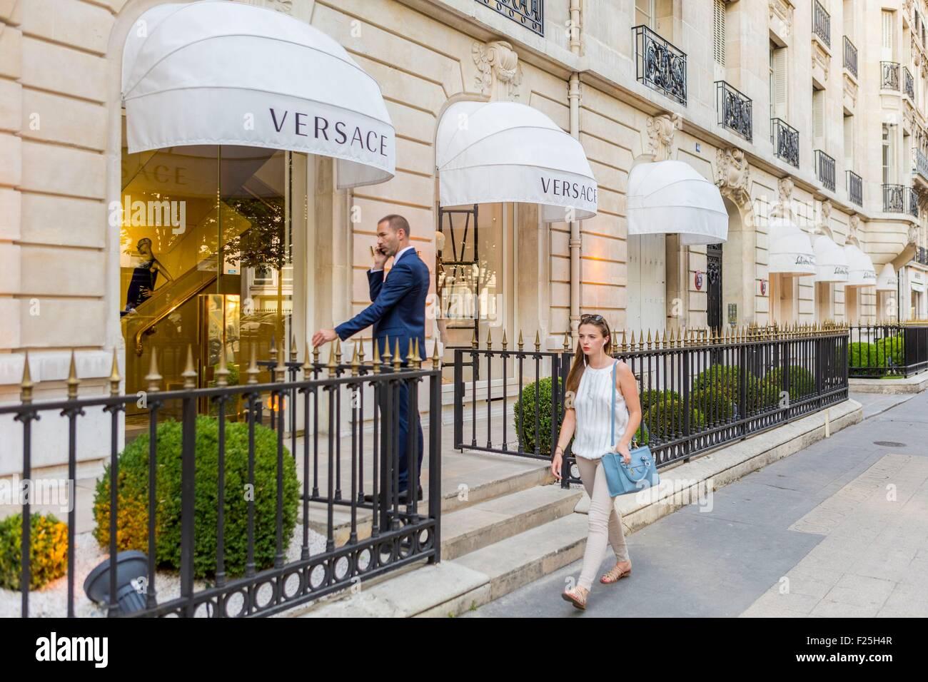 France, Paris, Avenue Montaigne, the Versace shop Stock Photo ...