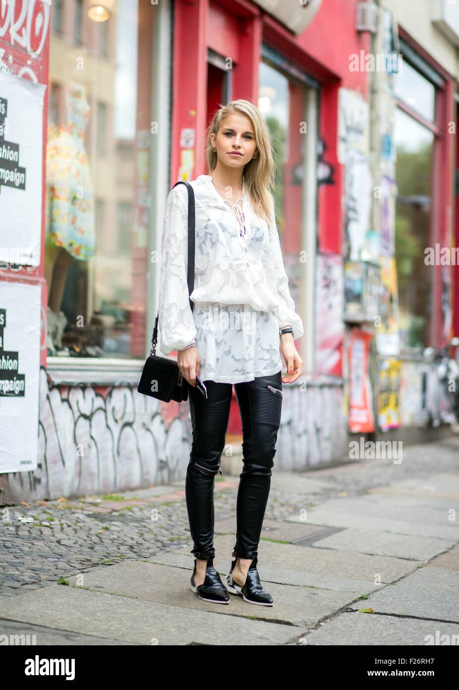 Mercedes Benz Fashion Week Berlin Spring Summer 2016 Streetstyle Stock Photo Royalty Free