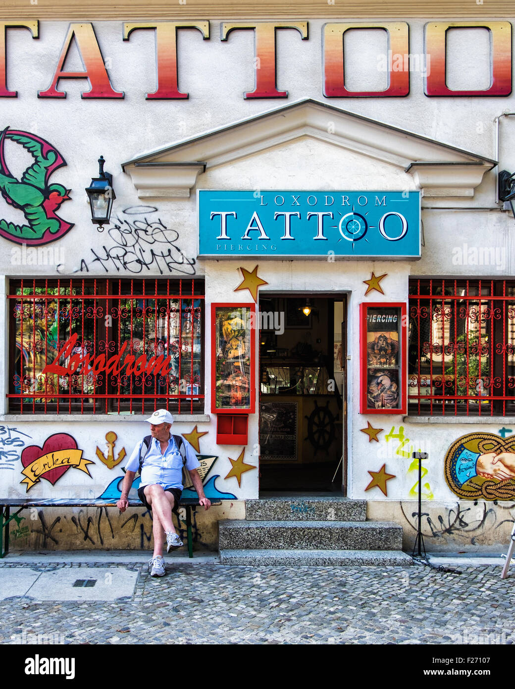 Loxodrom tattoo parlour shop exterior with colourful for Tattoo shops in idaho