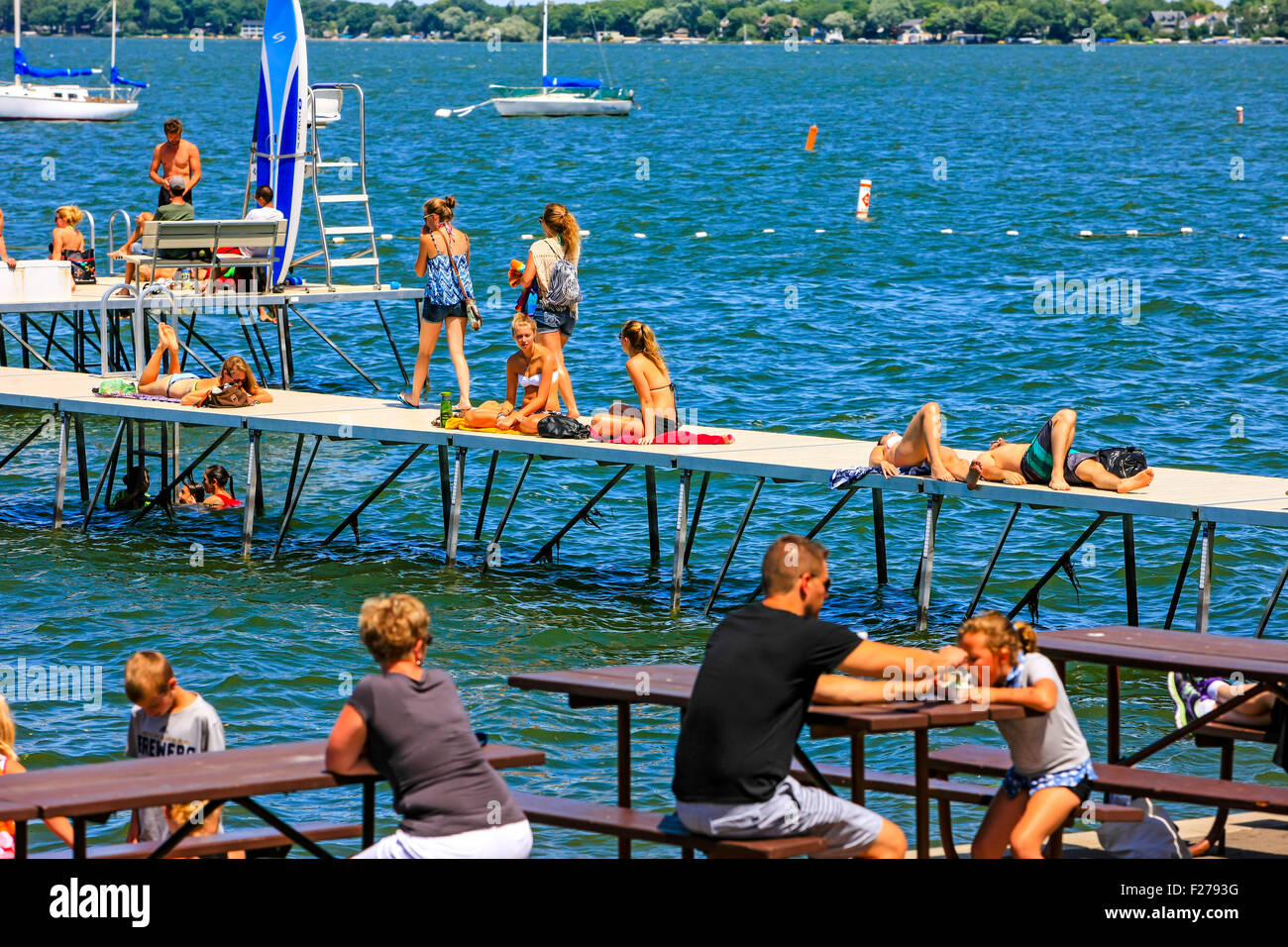 People enjoying the summer in madison wisconsin at the for Mendota terrace madison wi