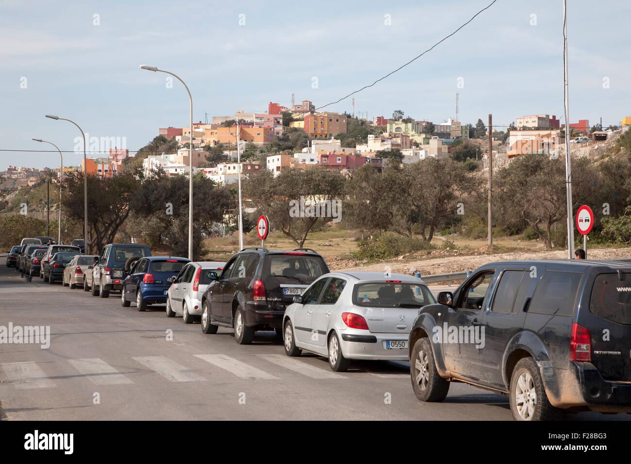 Line of cars wait at the Moroccan border in Melilla autonomous ...