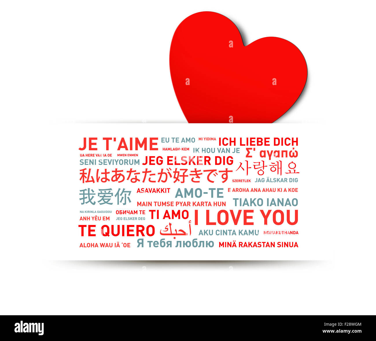 I Love You Message Card Translated In Different World Languages - Main languages in the world