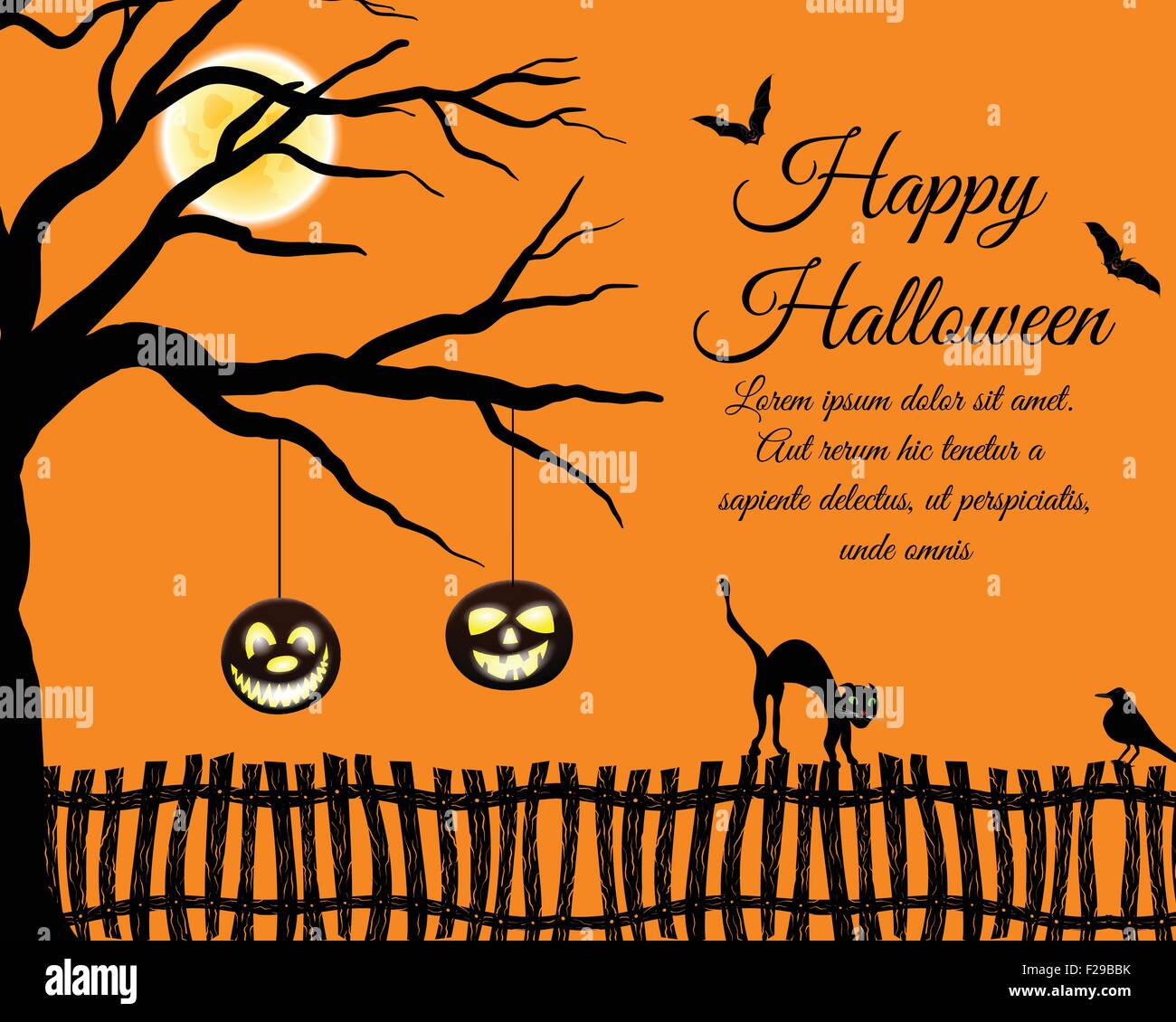 Ordinaire Happy Halloween Greeting Card. Elegant Design With Tree, Bats Stock Vector  Ar..