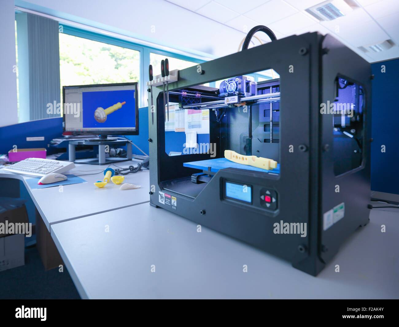 3d Printing Machine With Cad Design On Screen In