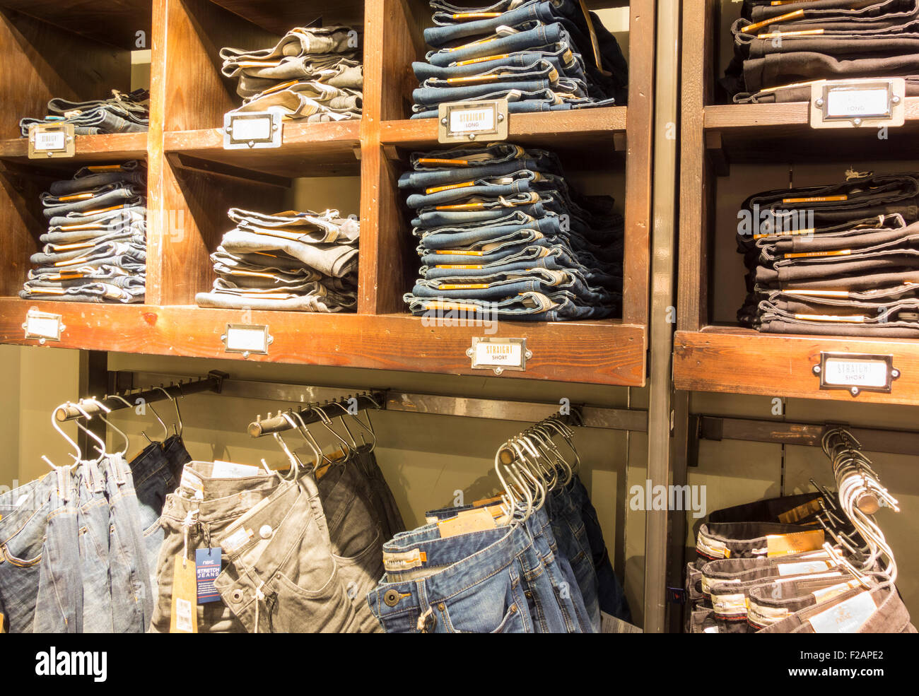 Denim Jeans display in clothing store. UK Stock Photo Royalty Free Image 87518314 - Alamy