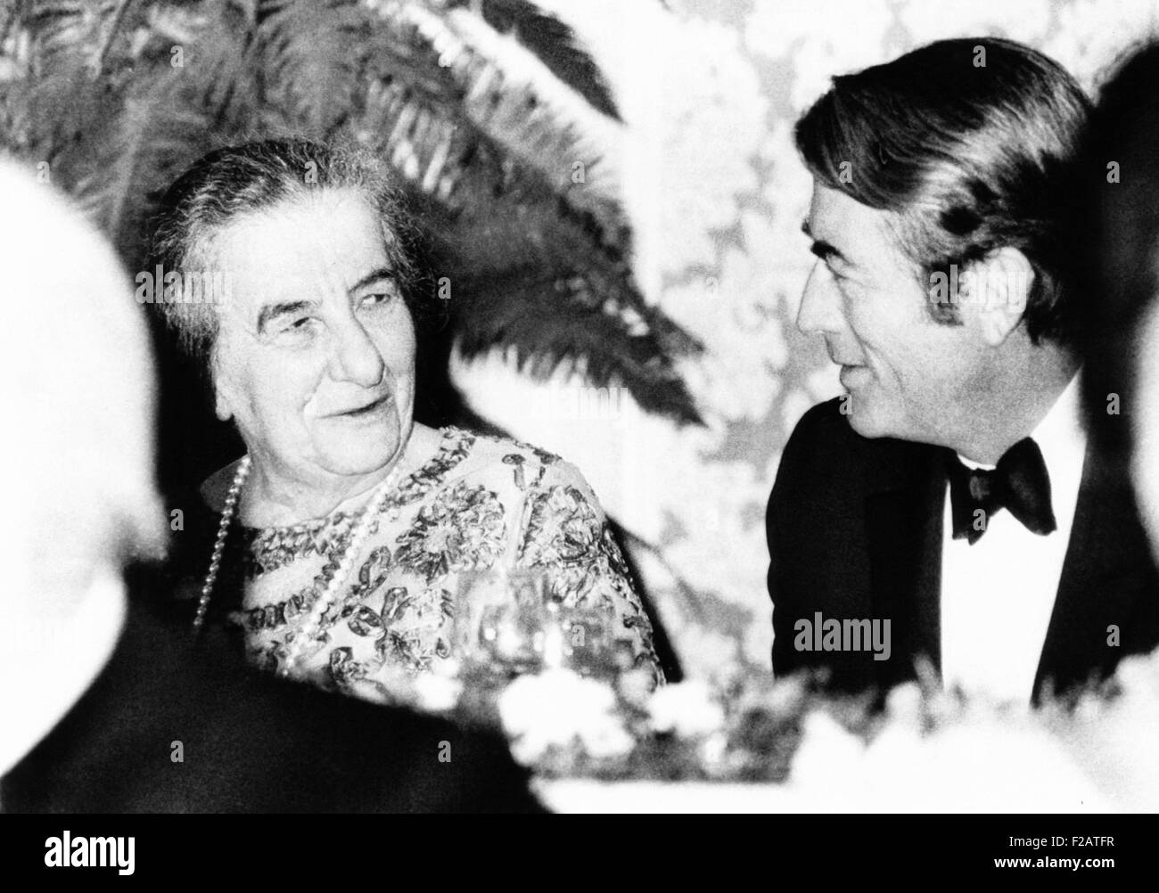 golda meir prime minister of israel dines with actor gregory peck oct 2