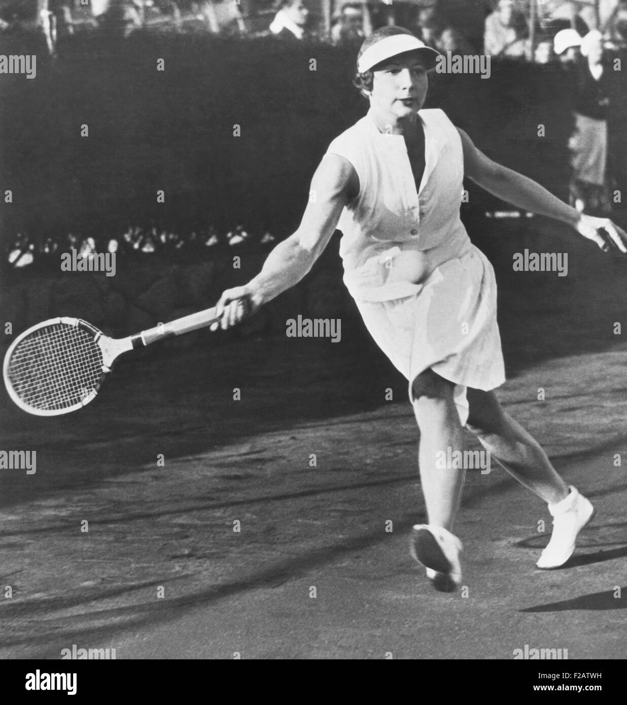 Helen Wills Moody playing at the Westside Tennis Club at Forest