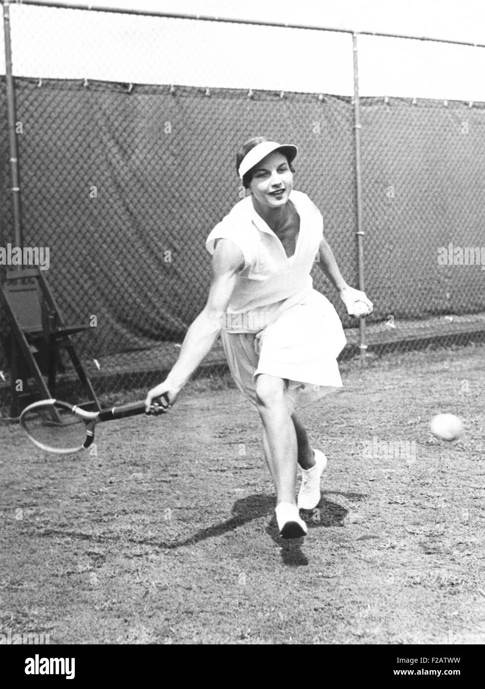 Helen Wills Moody in Doubles action at the U S Tennis