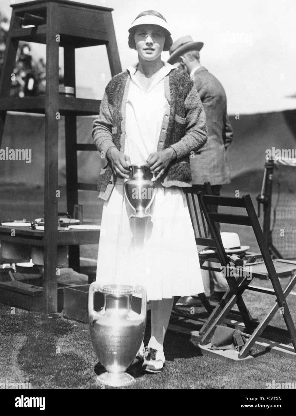 Helen Wills with trophies at the U S National Tennis Tournament
