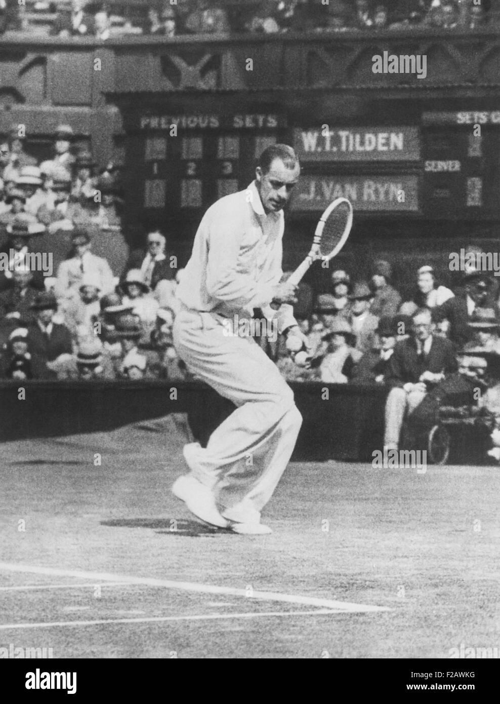 Bill Tilden as he played against John Van Ryn at Wimbledon July