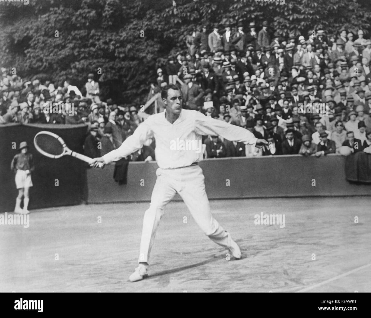 Bill Tilden playing tennis in a tournament at St Cloud France