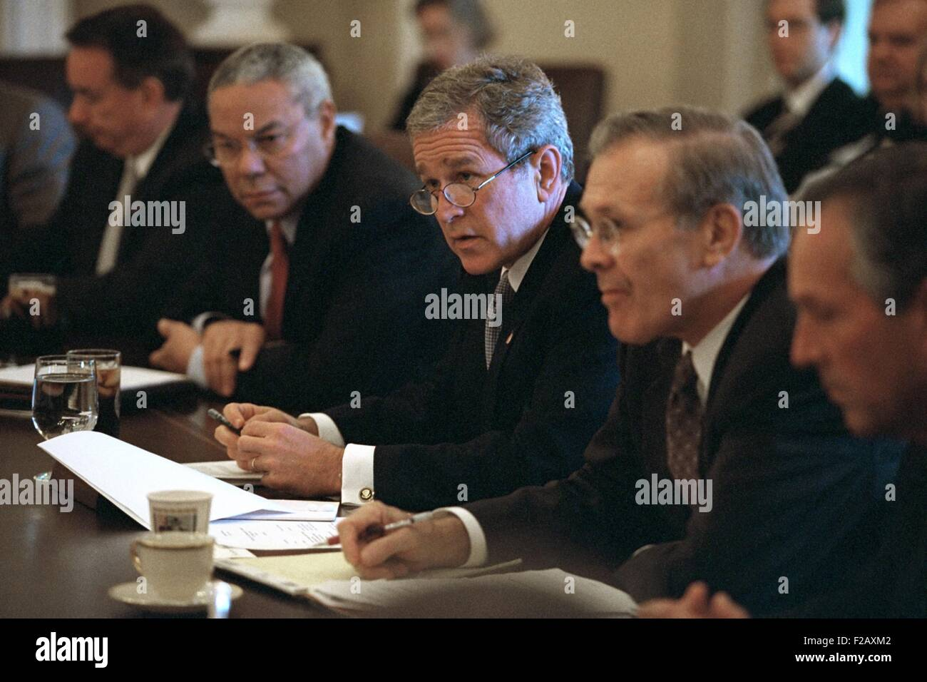 President George W. Bush Meets with his Cabinet on Oct. 10, 2001 ...