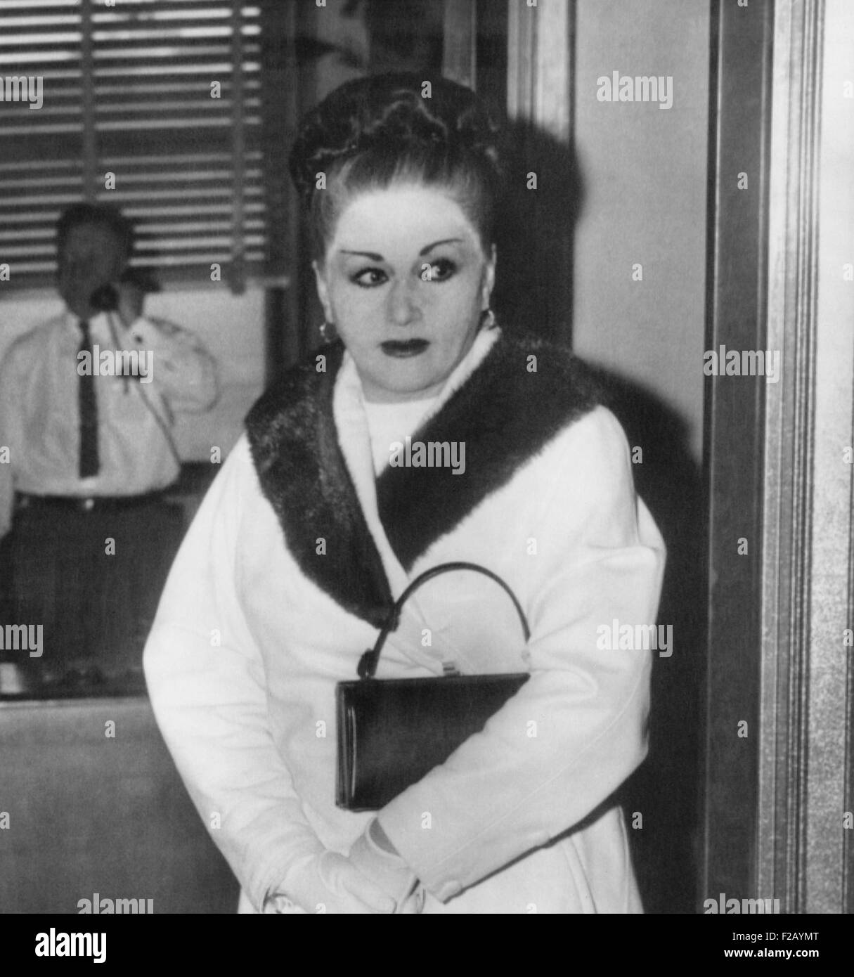 Anna Petillo, estranged wife of racketeer, Vito Genovese, was questioned by Mercer County grand jury. They asked about eight New Jersey men, including her husband, who attended a gangland convention in Apalachin, New York. Dec. 17, 1957. (CSU 2015 9 740)