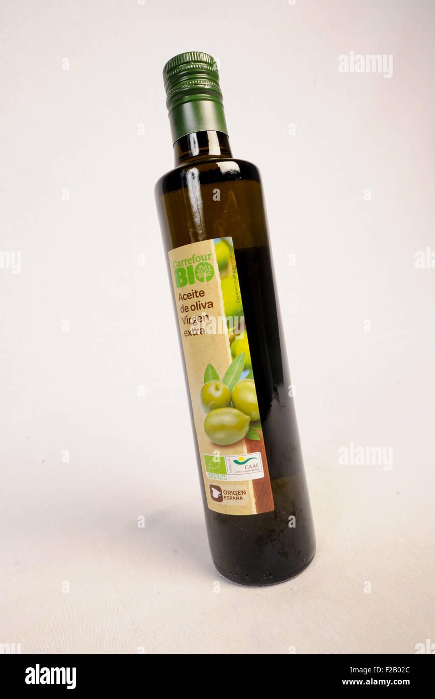 bio olive oil virgen extra of carrefour aceite de oliva bio de stock photo royalty free image. Black Bedroom Furniture Sets. Home Design Ideas