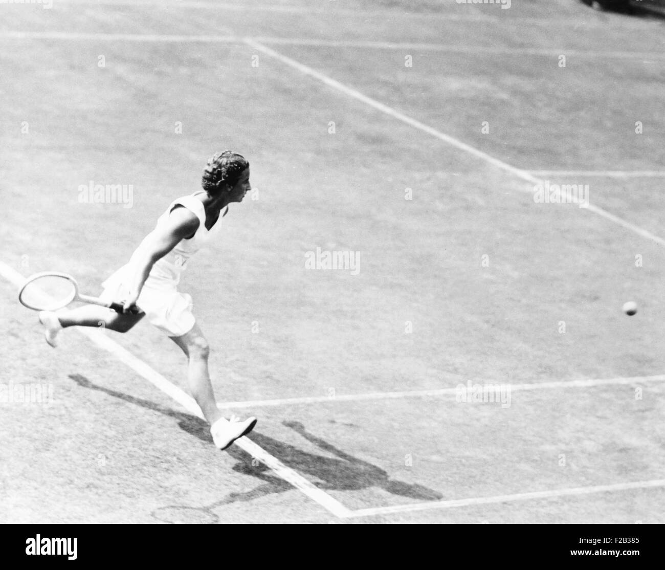 British Mary Hartwick in tennis match with Alice Marble of U S