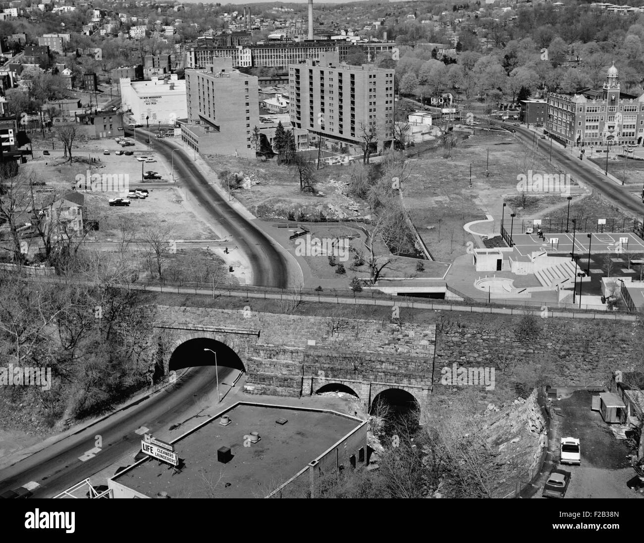 Yonkers, New York, ca. 1980. Aerial view showing Old ...
