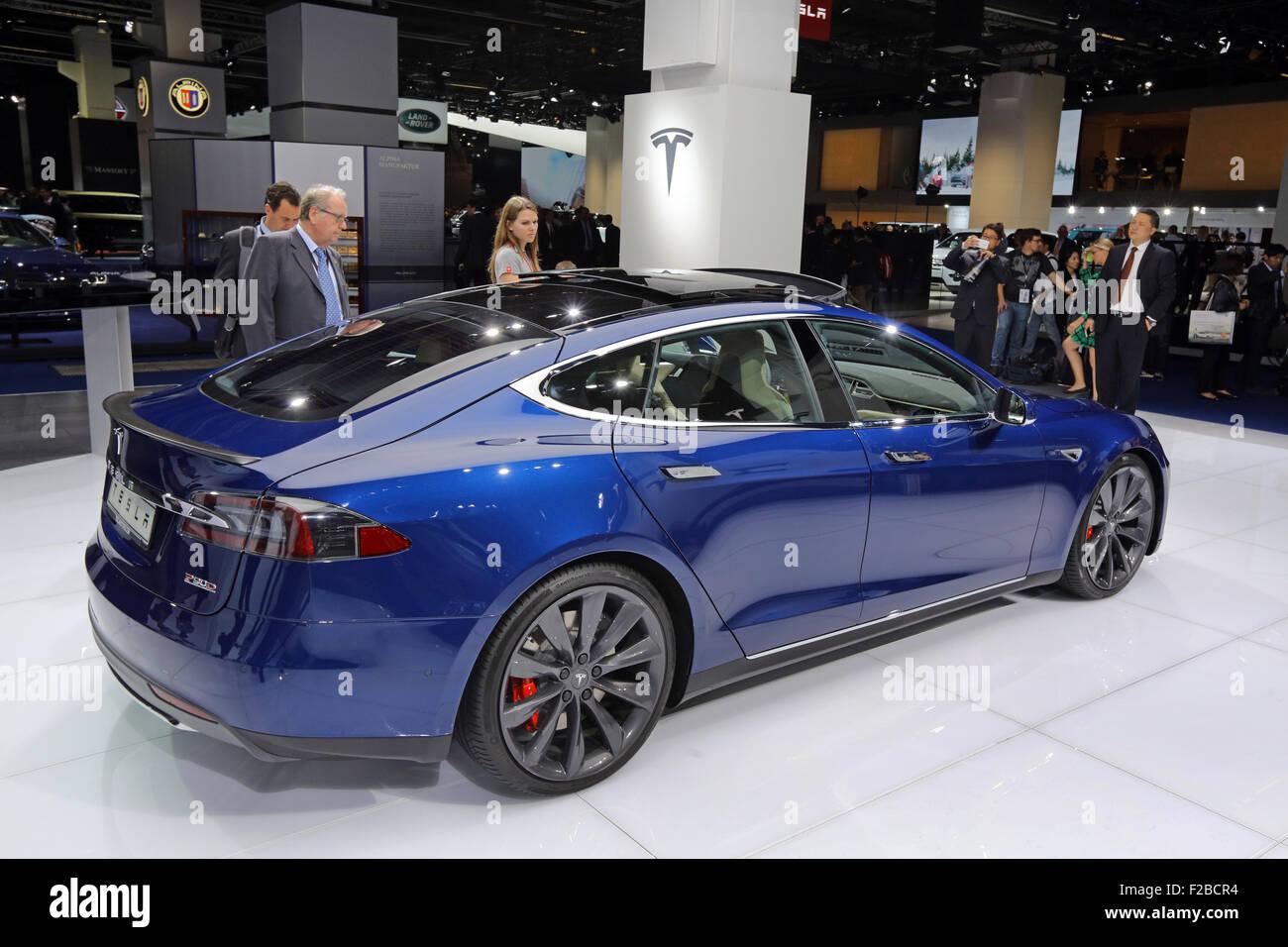 TESLA Model S At The Th International Motor Show IAA Stock - Automobil tesla