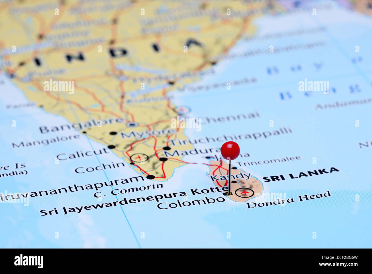 Sri Jayewardenepura Kotte pinned on a map of Asia Stock Photo