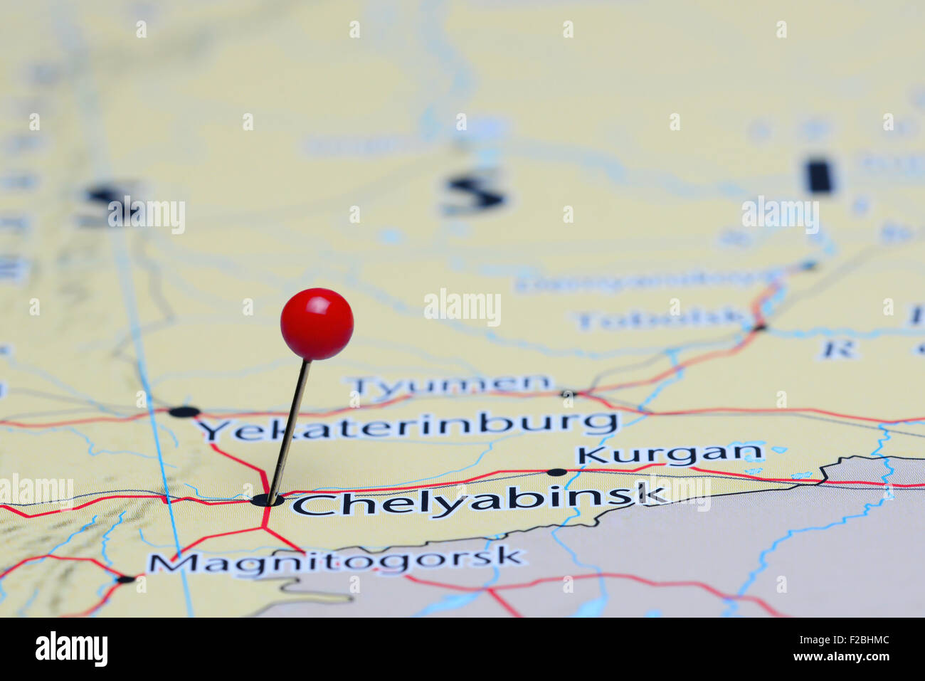 Chelyabinsk pinned on a map of Asia Stock Photo Royalty Free Image