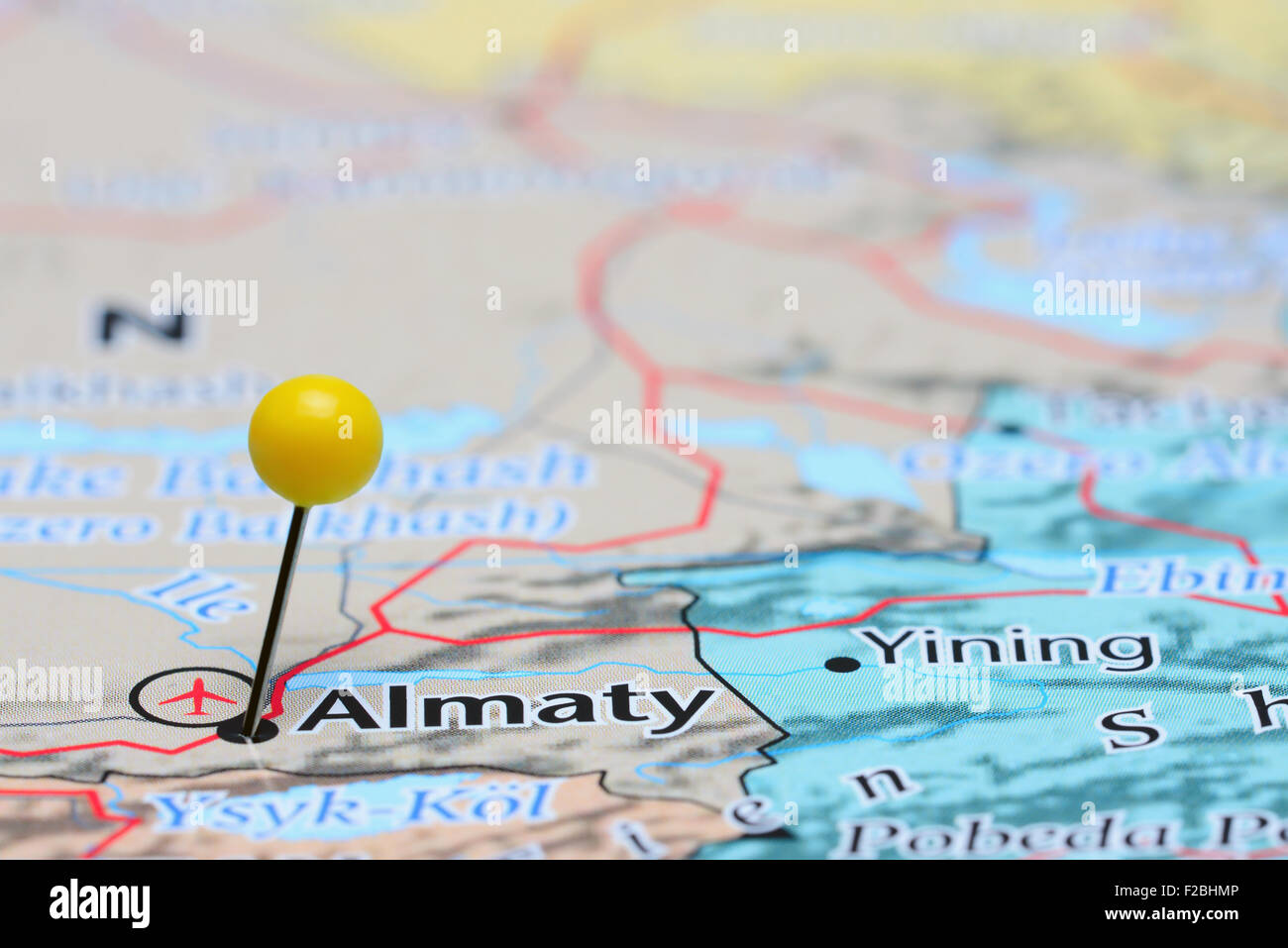 Almaty pinned on a map of Asia Stock Photo Royalty Free Image