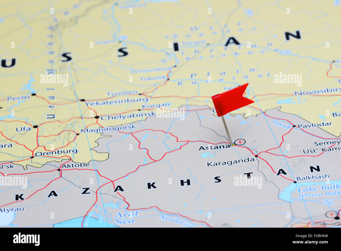 Astana pinned on a map of Asia Stock Photo Royalty Free Image