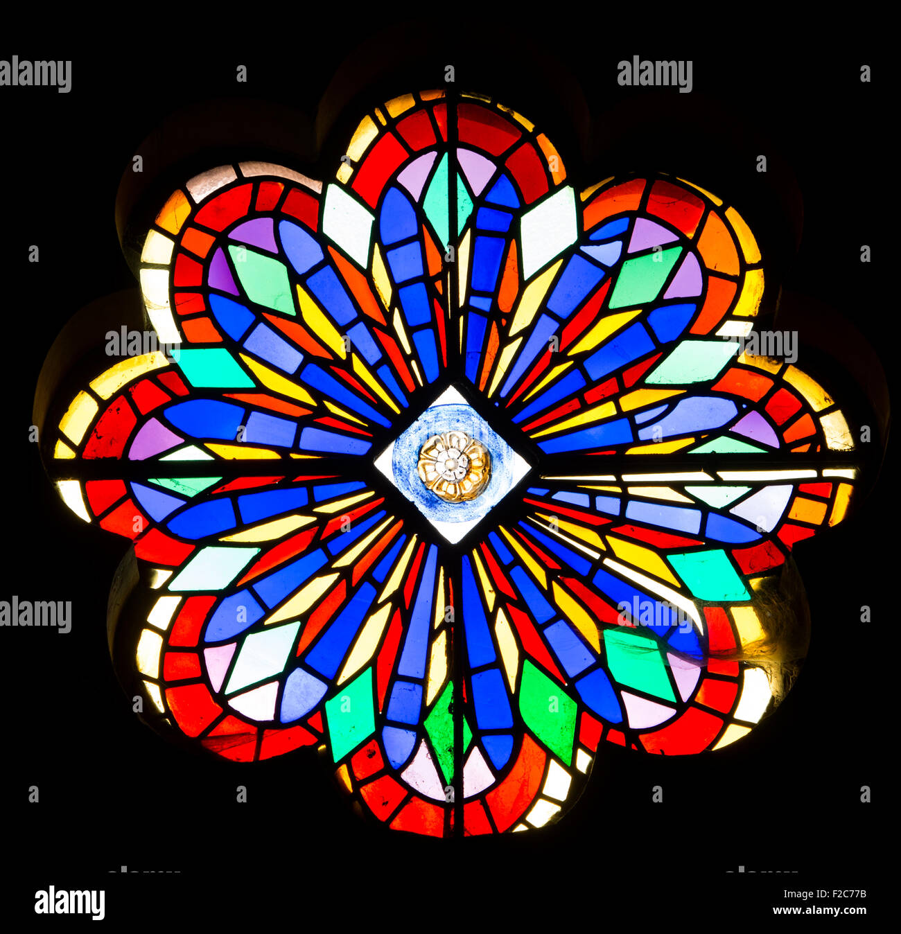 Colourful Stained Glass Rose Window St Lawrences Church Measham Leicestershire England UK