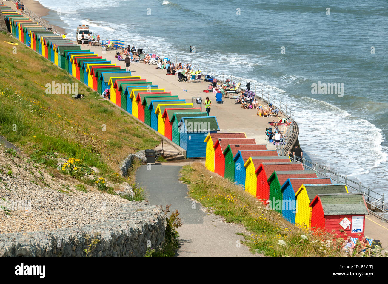 Multi Coloured Beach Huts At Whitby Beach Whitby