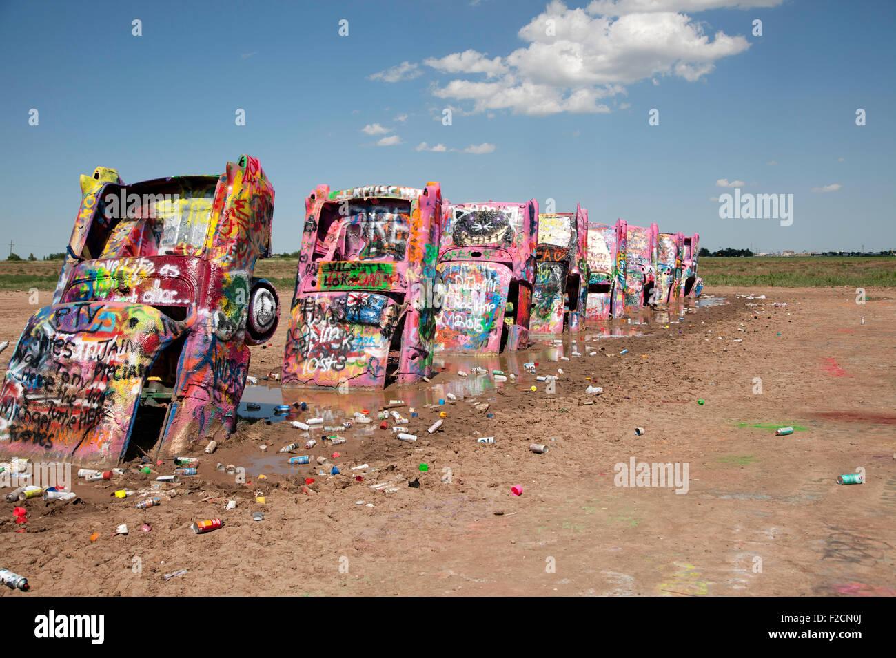 Graffiti cover cars at cadillac ranch in amarillo texas on july 13 2015
