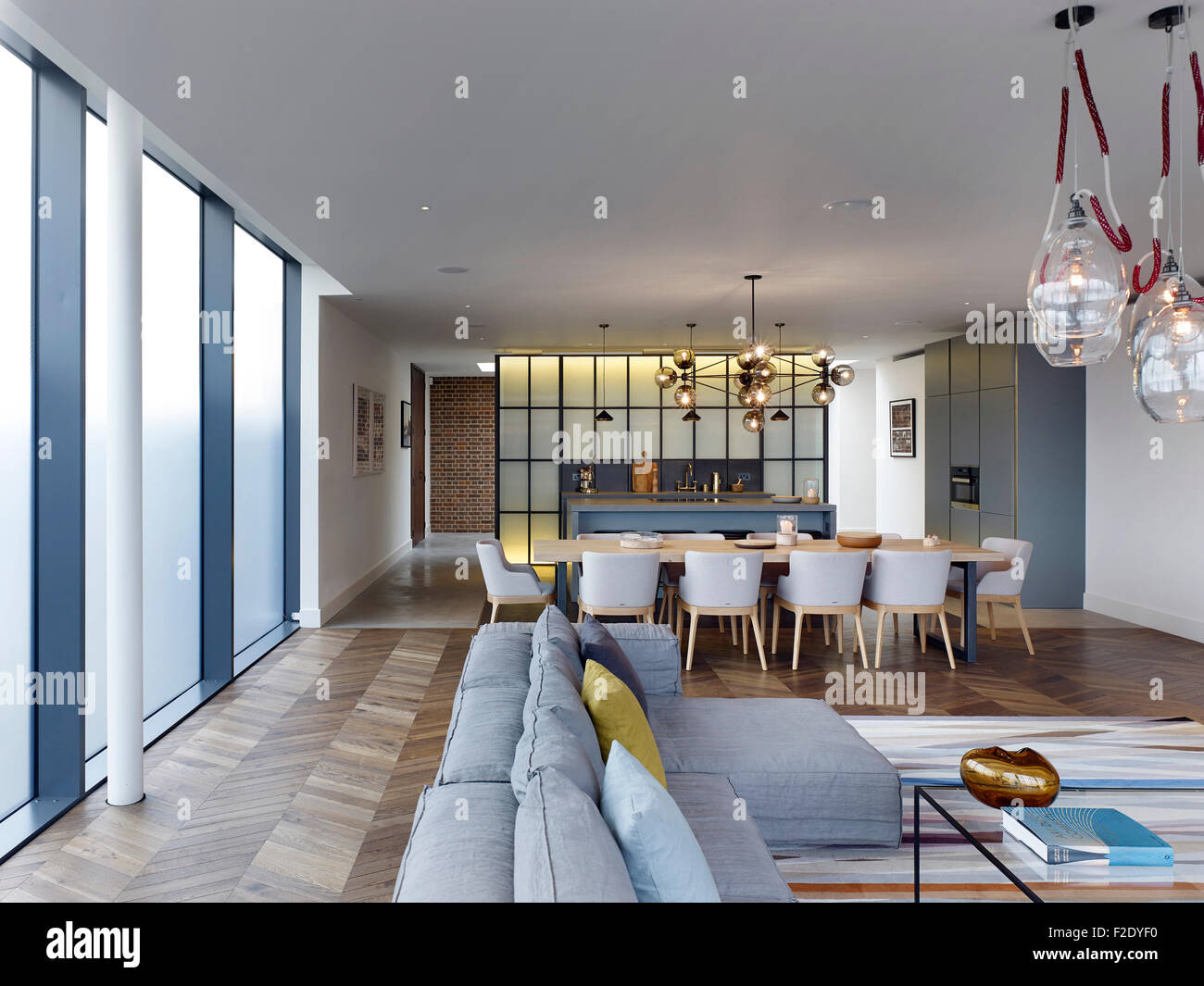 Livingroom/ Dining/ Kitchen. Penthouse Showroom, Battersea Power Station,  London, United Kingdom. Architect: Michaelis Boyd Asso