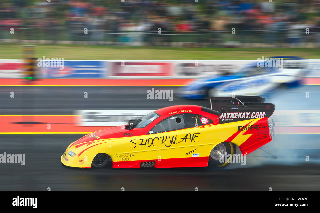 Stock Photo - Top Fuel Funny car drag race at Santa Pod. Kevin Kent in a Ford Mustang far side v Gordon Smith driving a Dodge Stratus nearside & Top Fuel Funny car drag race at Santa Pod. Kevin Kent in a Ford ... markmcfarlin.com