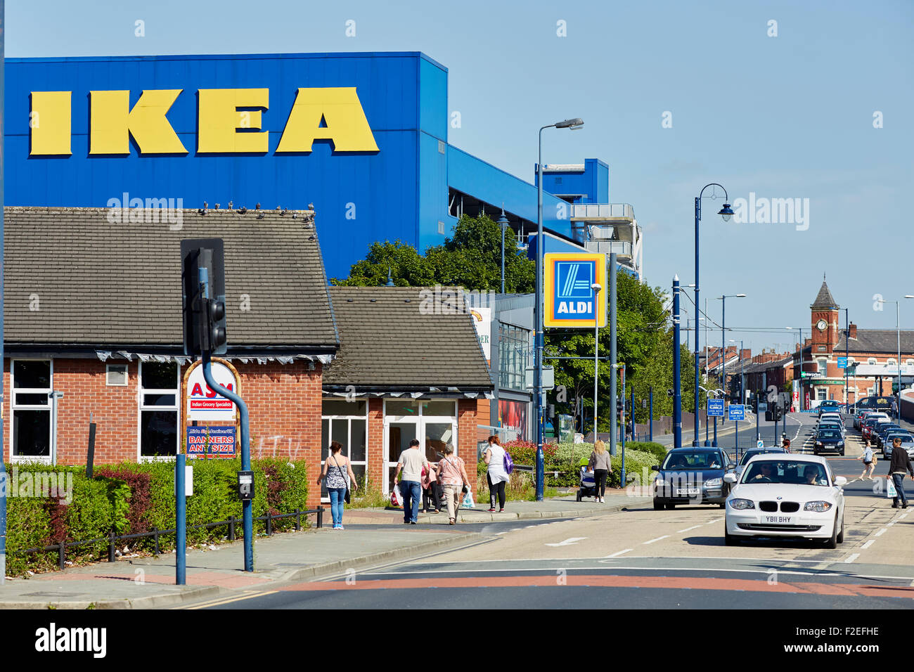 Ikea furniture store exterior on a sunny day in Aston-under-Lyne Tameside  Gtr Manchester Uk