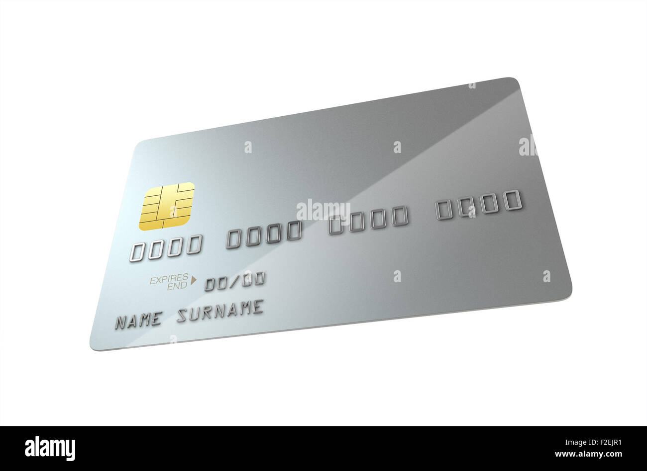 A closeup view of a silver generic blank bank credit card on an ...
