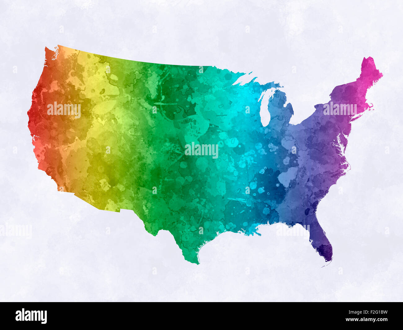 Usa Map USA In Watercolor Painting Abstract