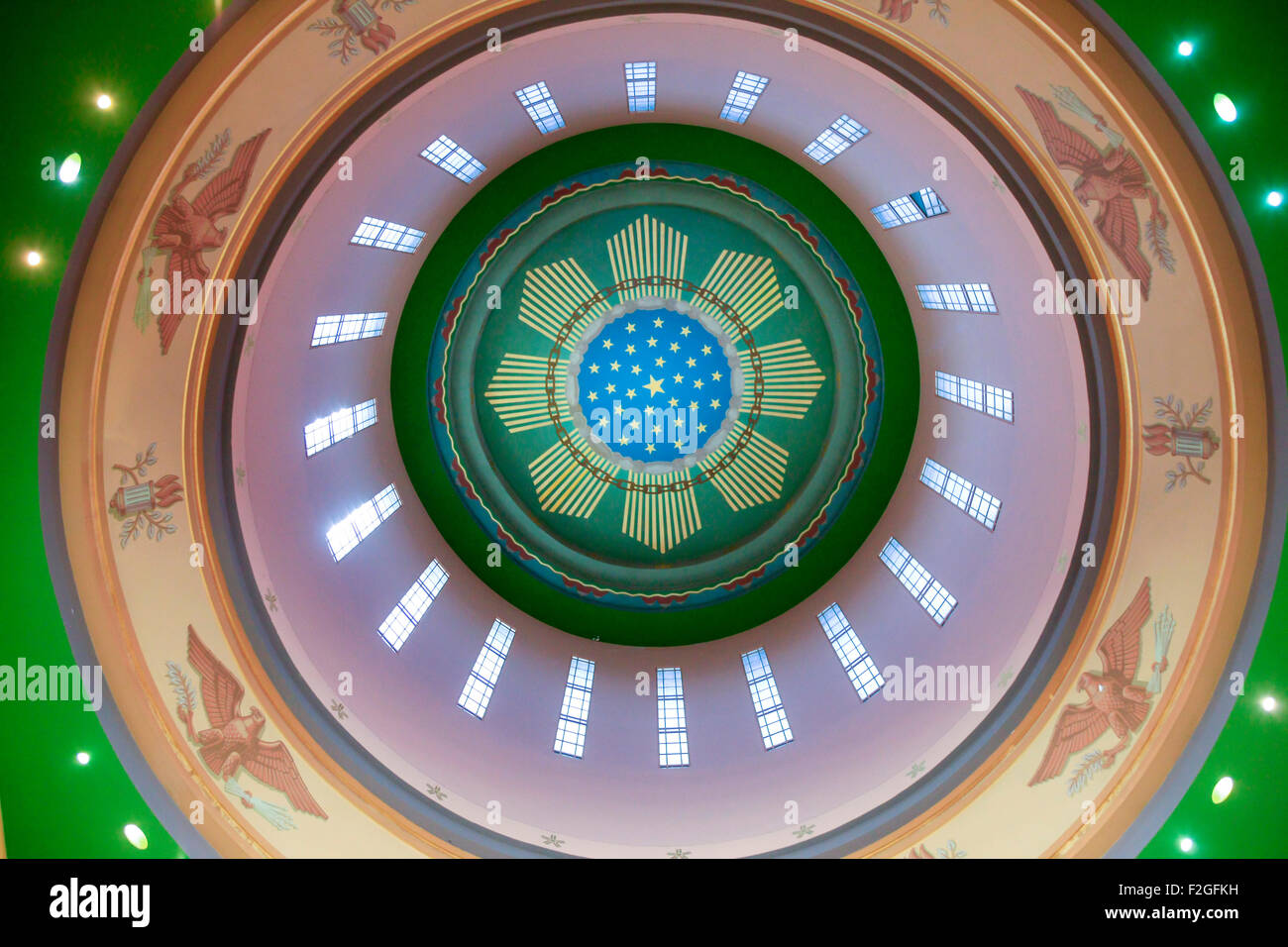 The Oregon State Capitol Building Interior Ceiling Of The Dome Above Stock Photo Royalty Free