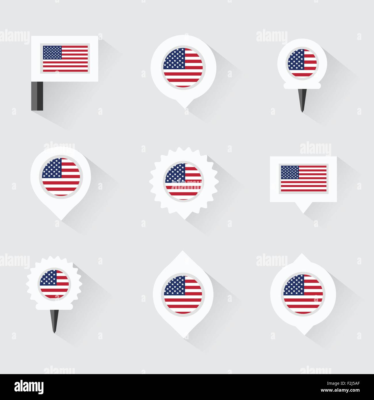united states of american flag and pins for infographic and map design